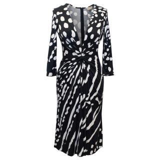 Issa Black and White Patterned Dress