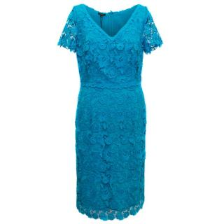 Escada Turquoise Short Sleeved Lace Dress