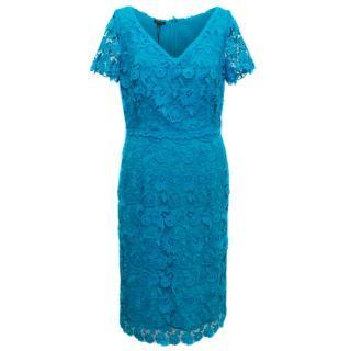 Escada Turquoise Short Sleeved Lace Dress