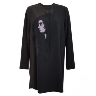 Victoria Beckham Black Moss Green Printed Silk Crepe Long Sleeve Dress