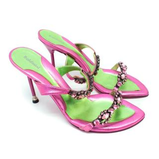 Baldinini Pink Metallised Leather Sandals with Crystals