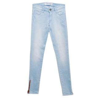 Etienne Marcel Light Blue Skinny Jeans with Red Zips