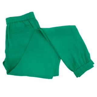 Joseph Green Silk Trousers with Elasticated Hems