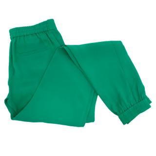 Joseph Green Silk Trousers with Elasticated Hems