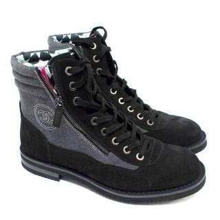 Chanel Men's Grey High Top Boots with Black Suede Trims