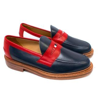 Thom Browne Red and Navy Leather Loafers