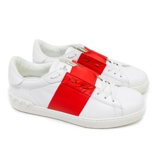Valentino Men's White Rockstud Trainers with Red Band