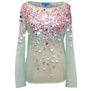 Escada Sport Green Mesh Top with Pink Sequins
