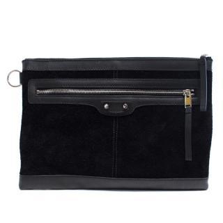 Balenciaga Black Suede Clip Bag