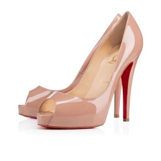 Christian Louboutin Very Prive open toe nude pumps