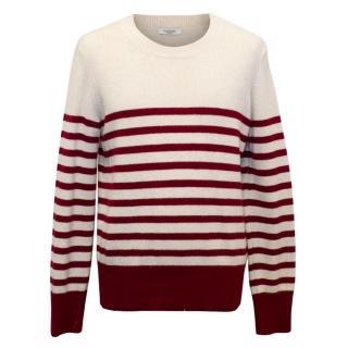Valentino Men's Cashmere and Wool Blend Burgundy Striped Jumper