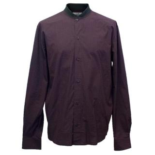 Hermes Purple Check Shirt with Black Jersey Collar