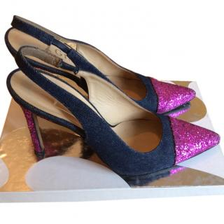 Gina Denim and Pink Glitter Sling back shoes-JUST REDUCED !!!!