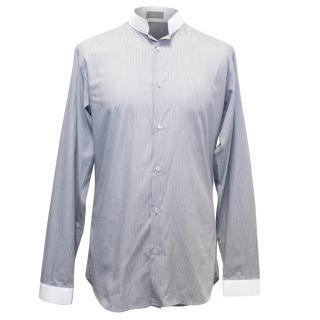 Dior Grey Pinstriped Monk Shirt