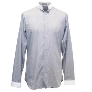 Dior Grey Pinstriped Monk Shirt