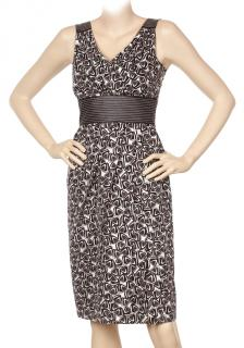 Laurel Cream, Brown & Black Graphic print pencil dress.