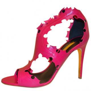 Rupert Sanderson Pink Leather caged sandals
