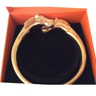 Hermes double horse head gold bangle vgc
