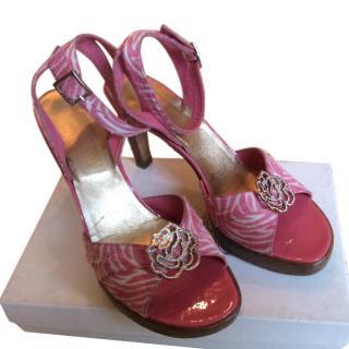 Versace pink zebra print sandals