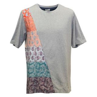 Paul Smith Men's Grey T-Shirt with Paisley Print