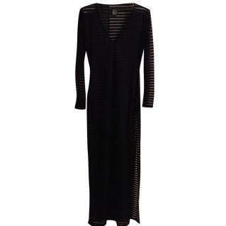 Biba long black dress with sheer stripes