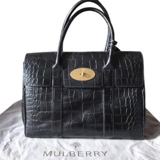 Mulberry Bayswater Black Deep Embossed Croc Print