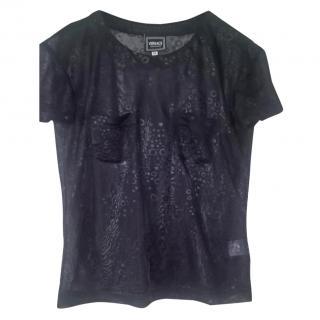 Versace Jean Couture black sheer top