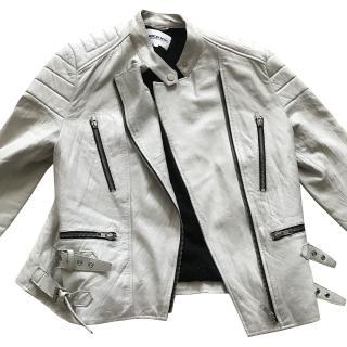 American Retro White Lamb Leather Jacket
