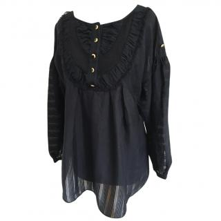 Temperley Black Floaty Blouse Size 8.