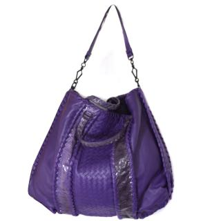 BNWT Bottega Veneta Deep Purple Intrecciato Python Large Bag RRP gbp 3,500