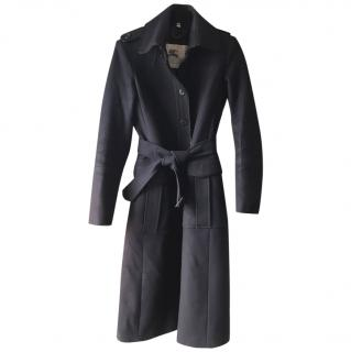 Burberry Navy Cashmere and Wool Trench Coat