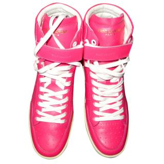 Saint Laurent pink high-top trainers 39
