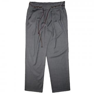 Brunello Cucinelli Pleated Front Trousers with Thin Leather Belt