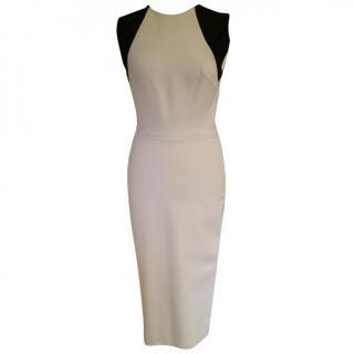 Victoria Beckham beige crepe bodycon dress