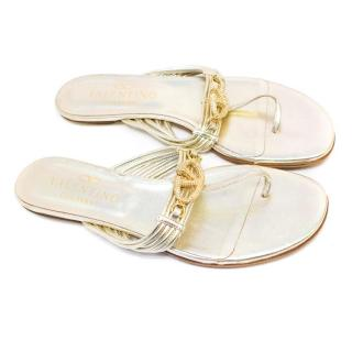 Valentino Garavani Gold Leather Thong Strap Sandals
