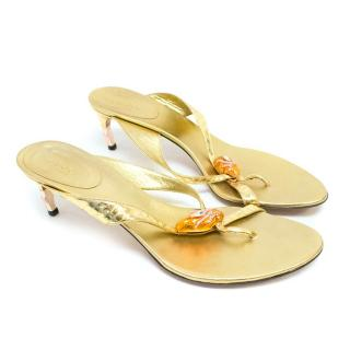 Gucci Gold Leather Thong Strap Sandals with Snake Detail