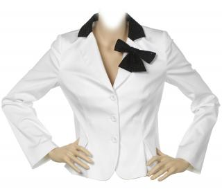 Love Moschino White Jacket with Black Crystal Collar & Bow