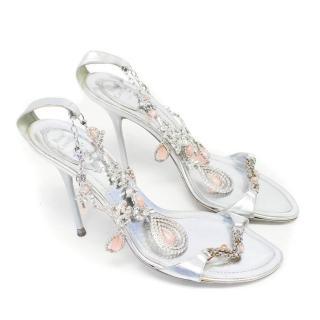 Rene Caovilla Silver Leather Sandals with Embellishments