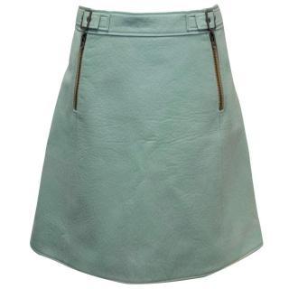 Chloe Aqua Lambskin A-line Skirt