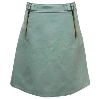 A/W 2016 Chloe Aqua Lambskin A-line Skirt