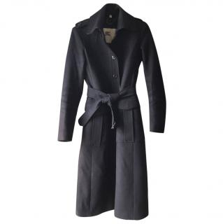 Burberry Navy Wool and Cashmere Classic Trench Coat