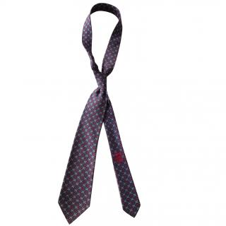 Hermes Classic Chain Link Blue and Red Tie RRP �130.