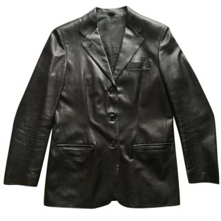 Helmut Lang Leather Single-Breasted Blazer