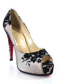 Christian Louboutin hyper prive stain/lace peep toe
