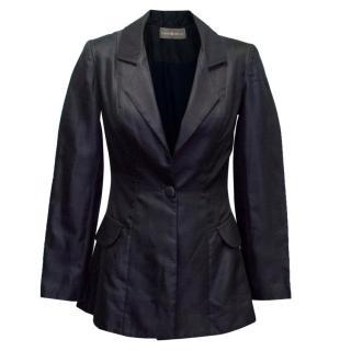 Hass Idriss Navy Silk Blend Blazer