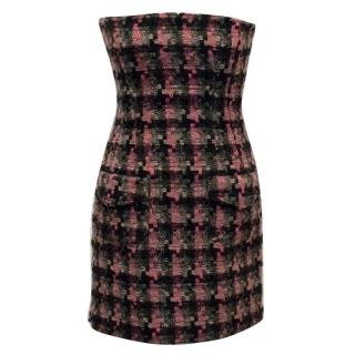 D&G Corseted Tweed Strapless Dress