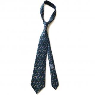 Hermes Blue Floral Silk Tie RRP �130