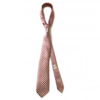 Hermes Red and White Ball Silk Tie RRP �130.