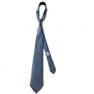 Hermes Blue Fish Silk Tie RRP �130