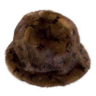 Louis Vuitton Mink Fur Bucket Hat with Monogram Print